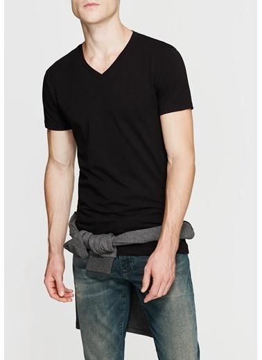 Mavi V Yaka Streç  Basic Tişört Siyah